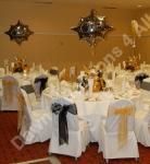 Balloon decorated tables.