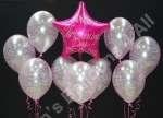 2 x three balloon bouquets along with a 4 balloon bouquet featuring a Personalised Foil Top balloon