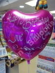 Personalised message on a foil balloon