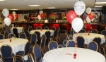 Balloon table decorations at Nottingham Forest Football ground.